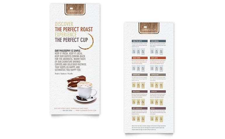 Bakery  Cupcake Shop Rack Card Template  Word Template