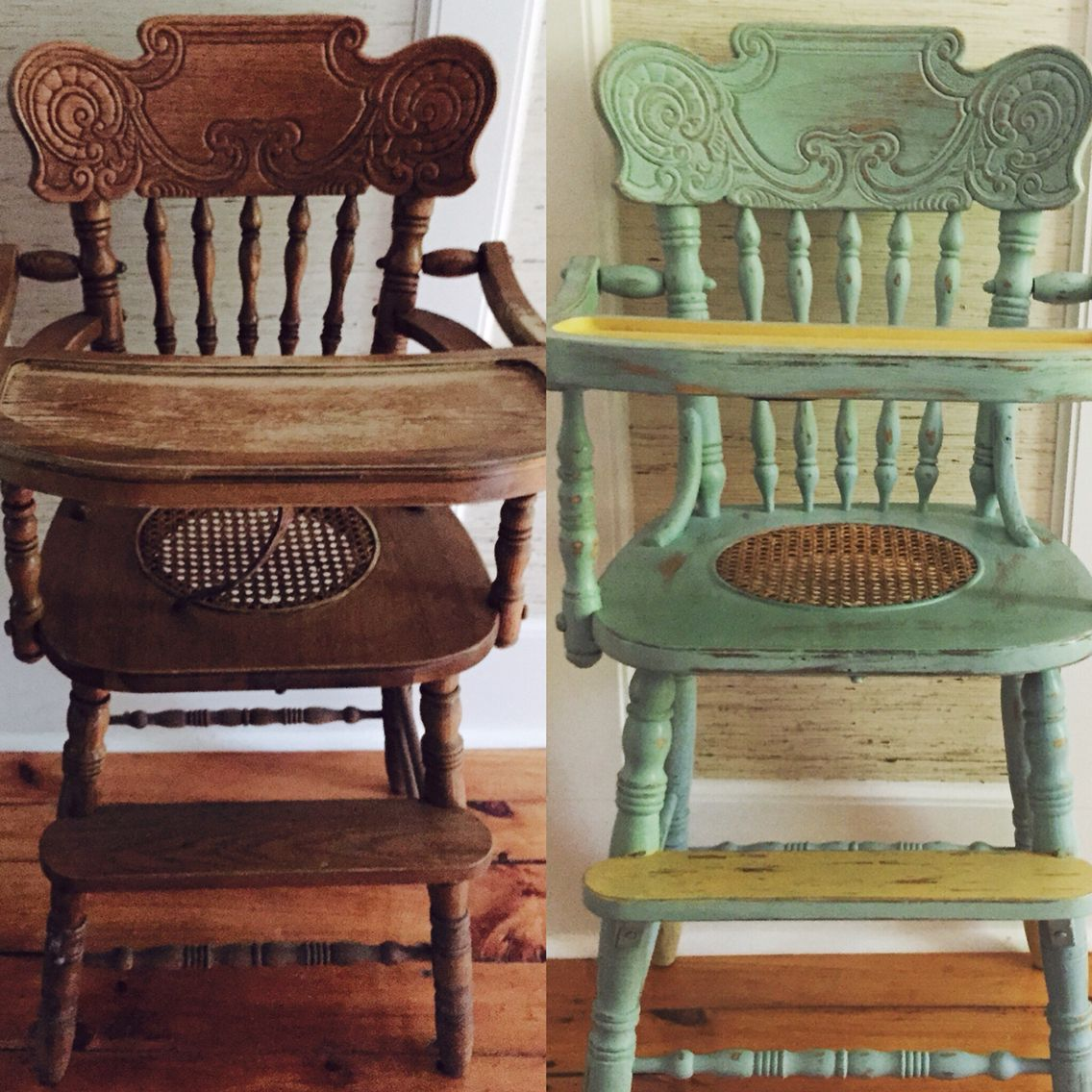 Painted wood high chair - Before And After Photos Of A Antique Wooden High Chair Hand Painted With Annie Sloan