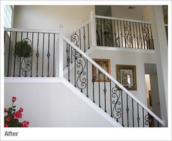 White Banister With Black Spindles Paint Walls A Dark Gray With