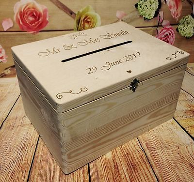 Personalised Wedding Cards Post Box Drop In Guests Wish Wooden With Slot