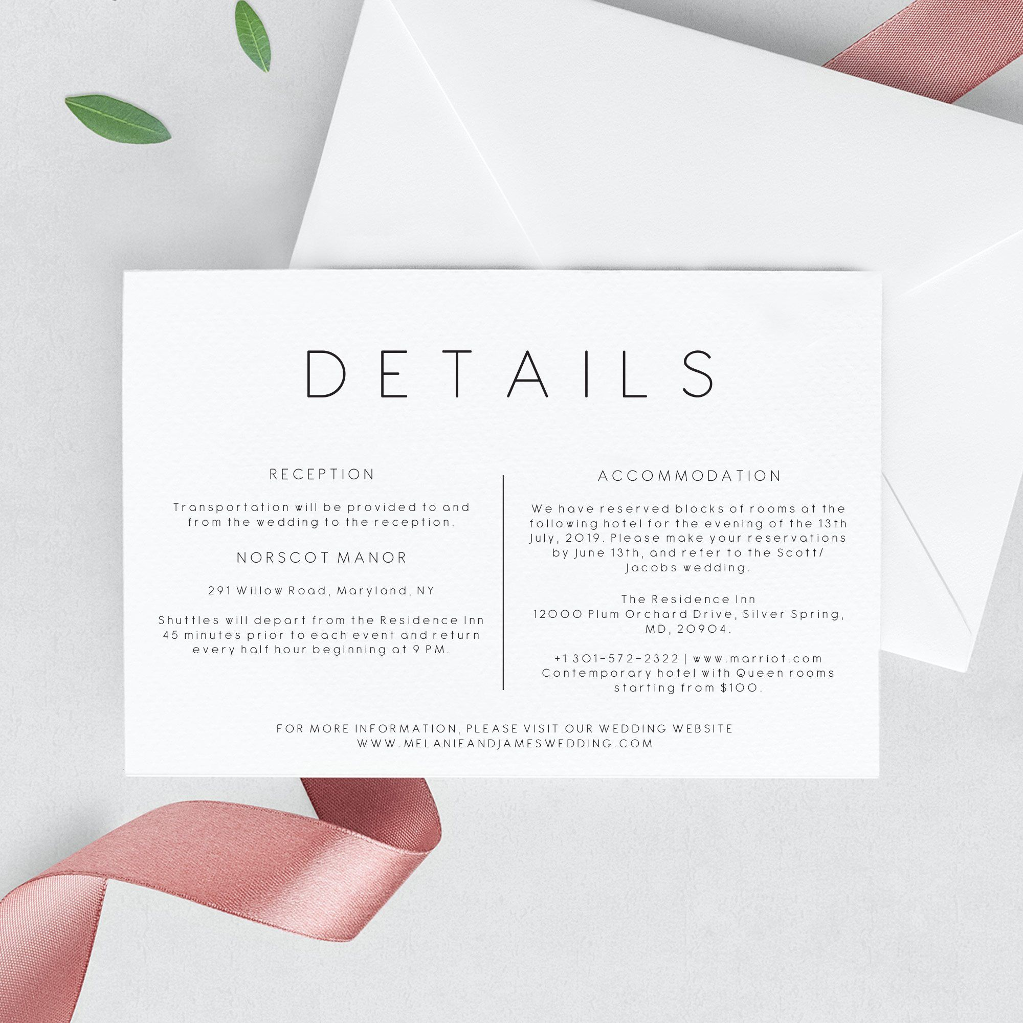 Wedding Details Invitation Template Printable Wedding Details
