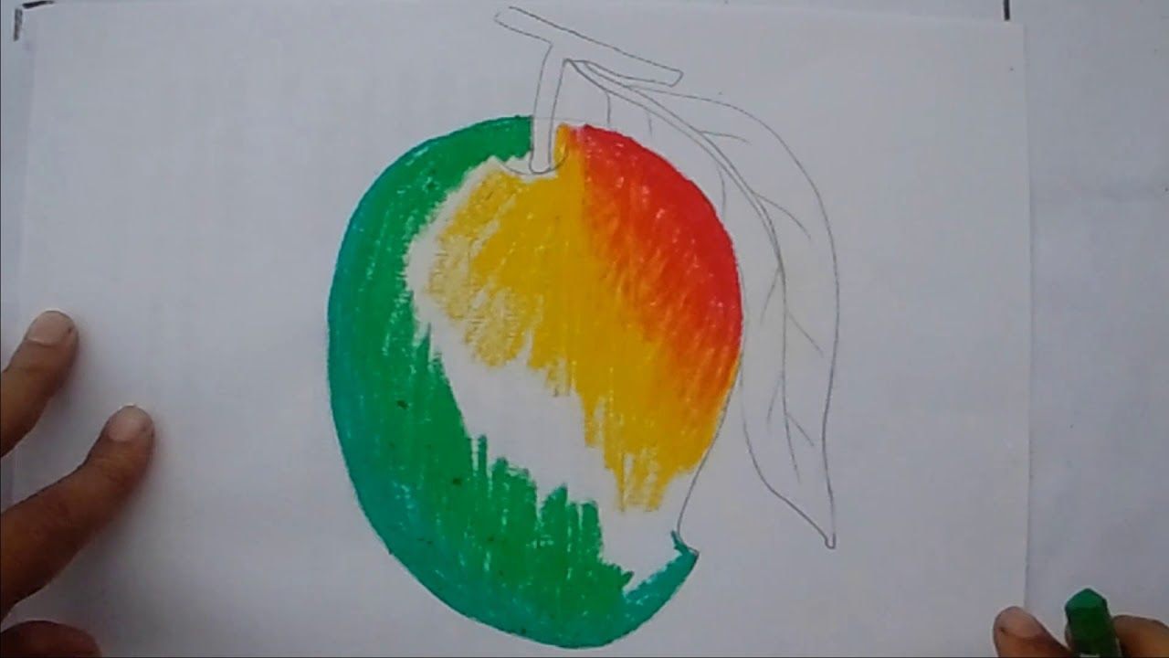 How To Draw A Colour Full Mango Step By Step 3d Mango Draw Drawing Mango Drawings Crafts Craft Studio