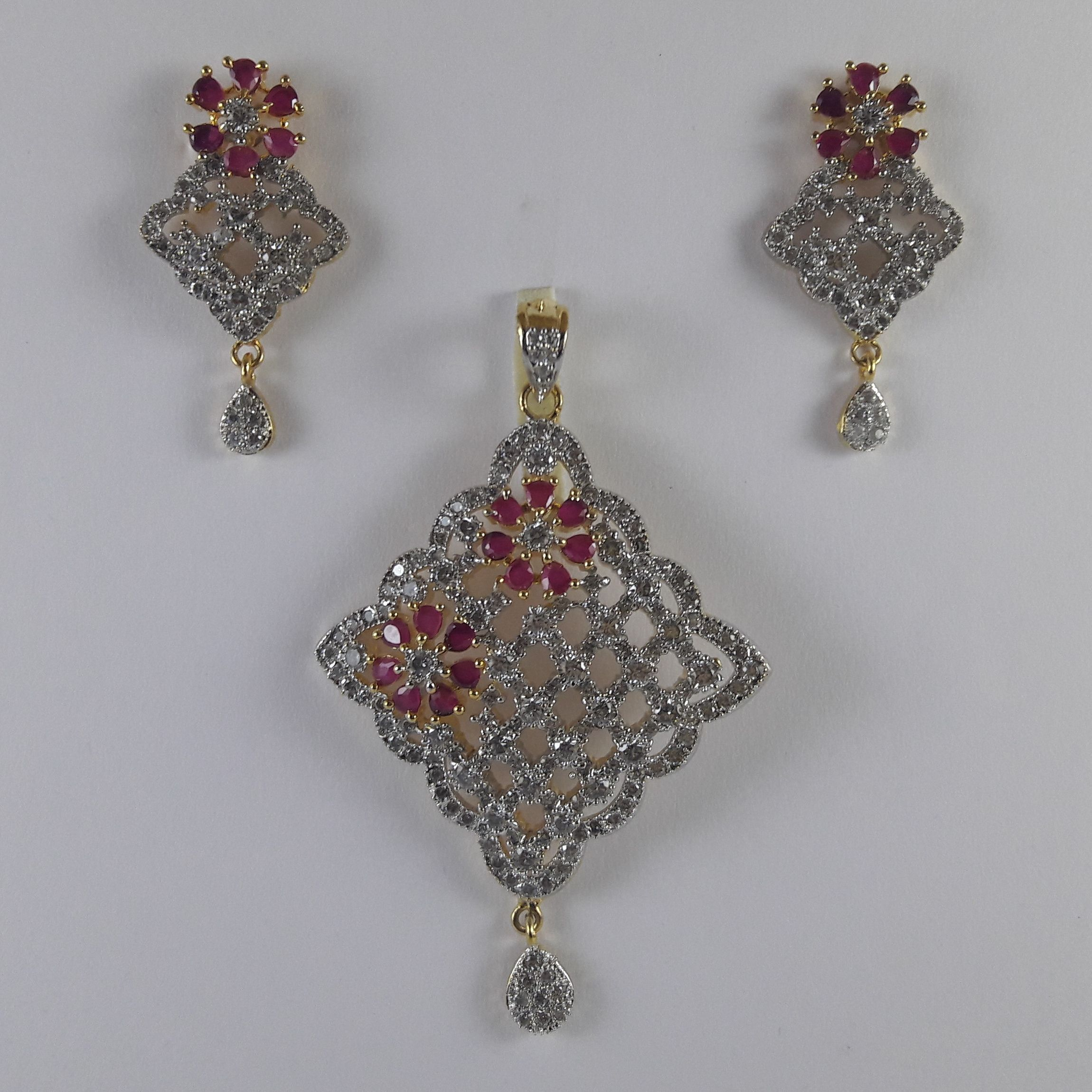Pink and White Gold Tone Pendant Set