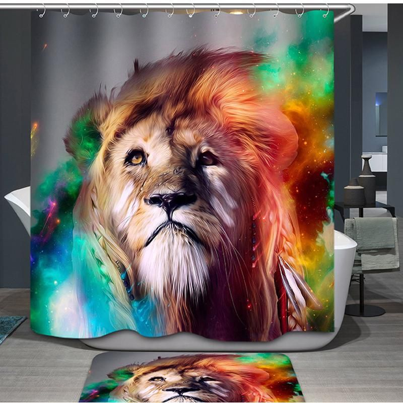 Colorful Indian King Of Campo Lion Shower Curtain Bathroom Decor