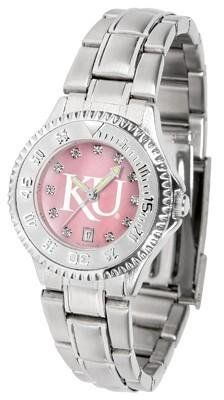 Kansas Jayhawks Ladies Watch Mother-of-Pearl Face by SunTime. $94.95. Women. Mother-of-Pearl and Crystal Face. Officially Licensed Kansas Jayhawks Ladies Stainless Stell Watch. Links Make Watch Adjustable. Stainless Steel Band. Kansas Jayhawks Ladies Watch Mother-of-Pearl Face This Jayhawks watch has a functional rotating bezel that is color-coordinated to compliment your favorite team logo. The Competitor Steel utilizes an attractive and secure stainless steel band.The face ...