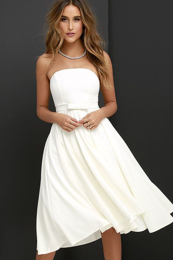 Time Is Right Ivory Strapless Midi Dress White Strapless Dress Junior White Dresses White Short Dress