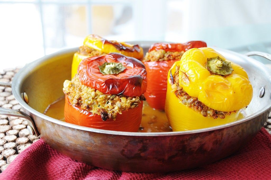 Lentil Quinoa And Vegetable Stuffed Peppers Recipe Stuffed Peppers High Protein Vegetarian Recipes Vegetarian Recipes Easy