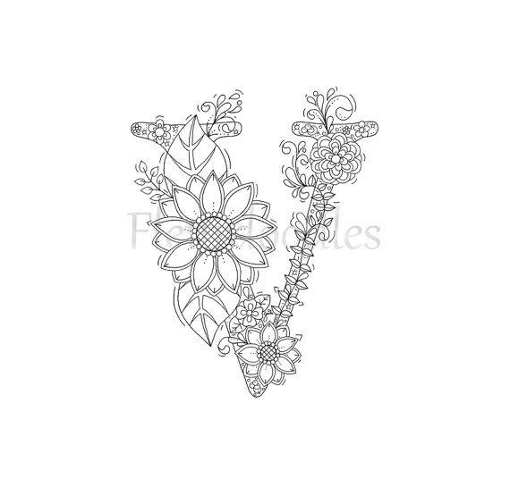Malseite zum Ausdrucken Buchstabe V floral von Fleurdoodles ...