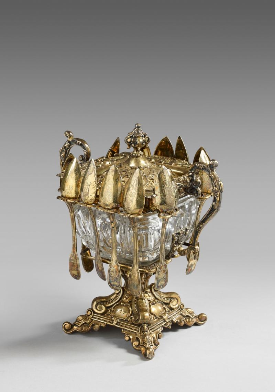 profitez de la livraison gratuite styles classiques bien CONFITURIER en cristal à monture en vermeil..., Bijoux ...