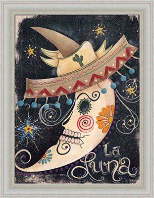 2252118cff181 La Luna by Jill Ankrom Sugar Skull Sombrero Moon Framed Art Print Picture  Wall Décor