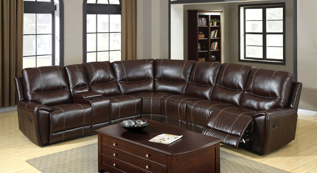 Cm6559 Keystone Brown Leatherette Sectional Sofa With Cup Holders