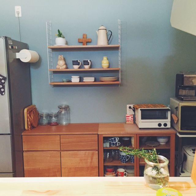 食器棚/北欧/無印良品/ストリングシェルフ/Kitchenのインテリア実例 -