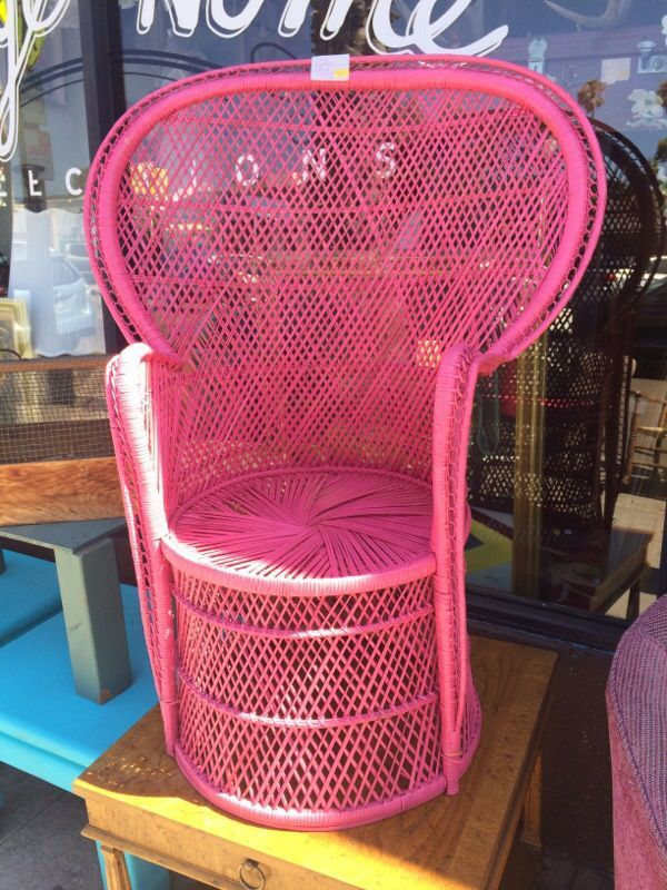 Rattan pink queen chair 199 for Sale in San Diego, CA