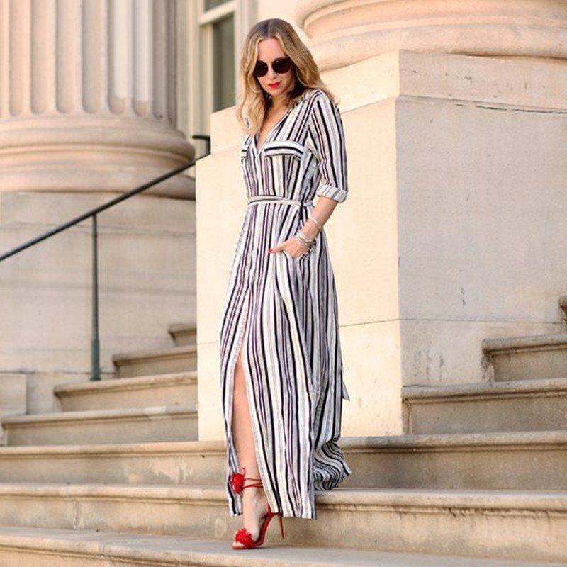 Joella Striped Maxi Shirt Dress   Vestido largo rayas, Vestidos ...