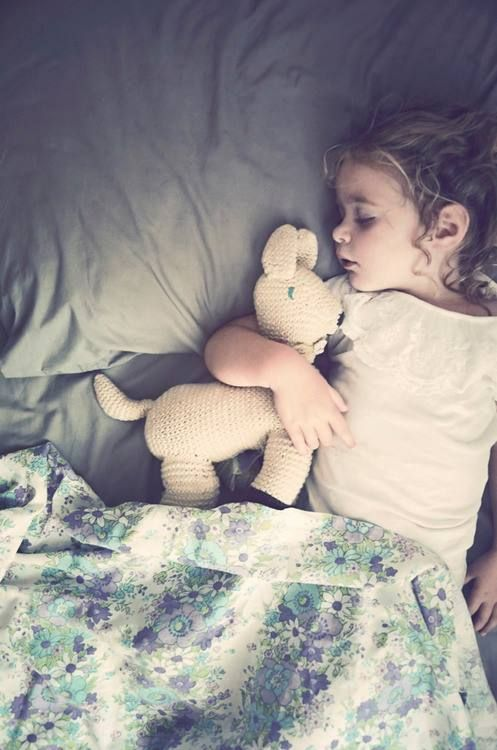 my future child ♥ clutching her little animal as he fights away the bad dreams