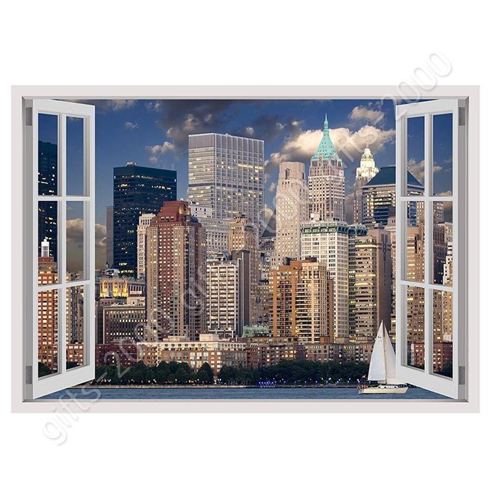 New York Poster Fenster Manhattan Skyline Window 91,5 x 61 cm