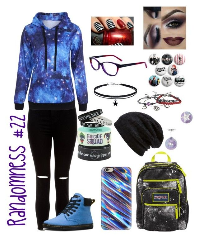 """Randomness #22"" by gamergirl45723 ❤ liked on Polyvore featuring New Look, Dr. Martens, JanSport, Casetify, Barefoot Dreams, Forever 21 and Converse"
