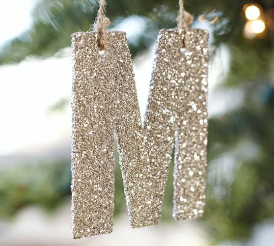 Silver German Glitter Letter Ornaments Letter Ornaments Glitter Letters Pottery Barn Christmas