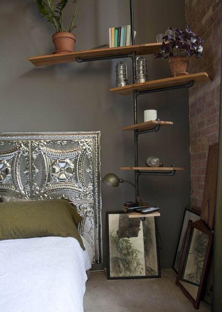 Reclaimed materials. Cool shelves.