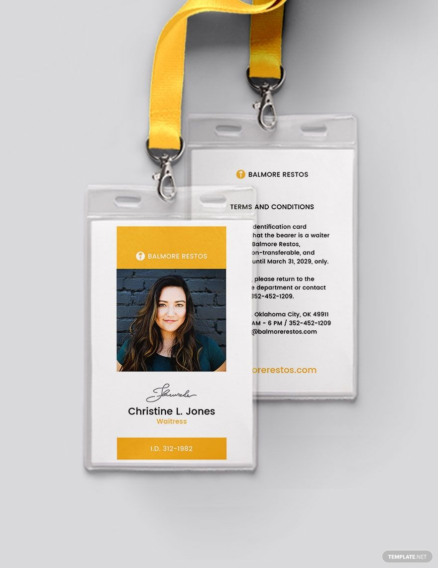 Restaurant Id Card Template Word Psd Indesign Apple Pages Publisher Illustrator In 2020 Identity Card Design Id Card Template Card Template