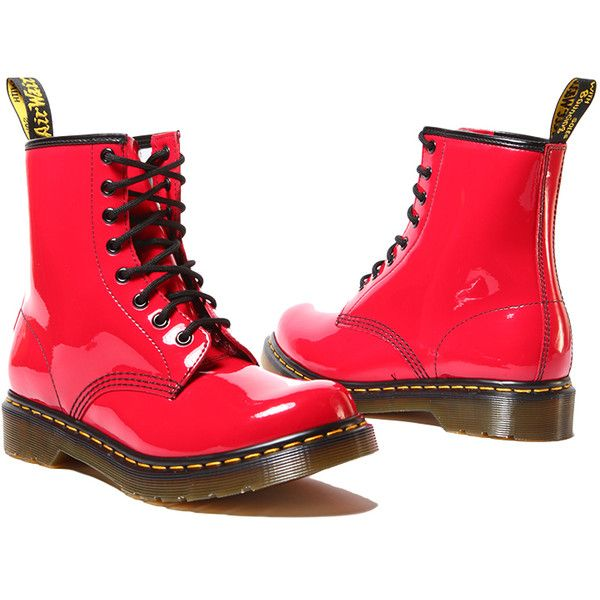 Dr Martens 1460 Women S Boot In Red Patent Lamper Patent Leather Boots Boots Metallic Ankle Boots