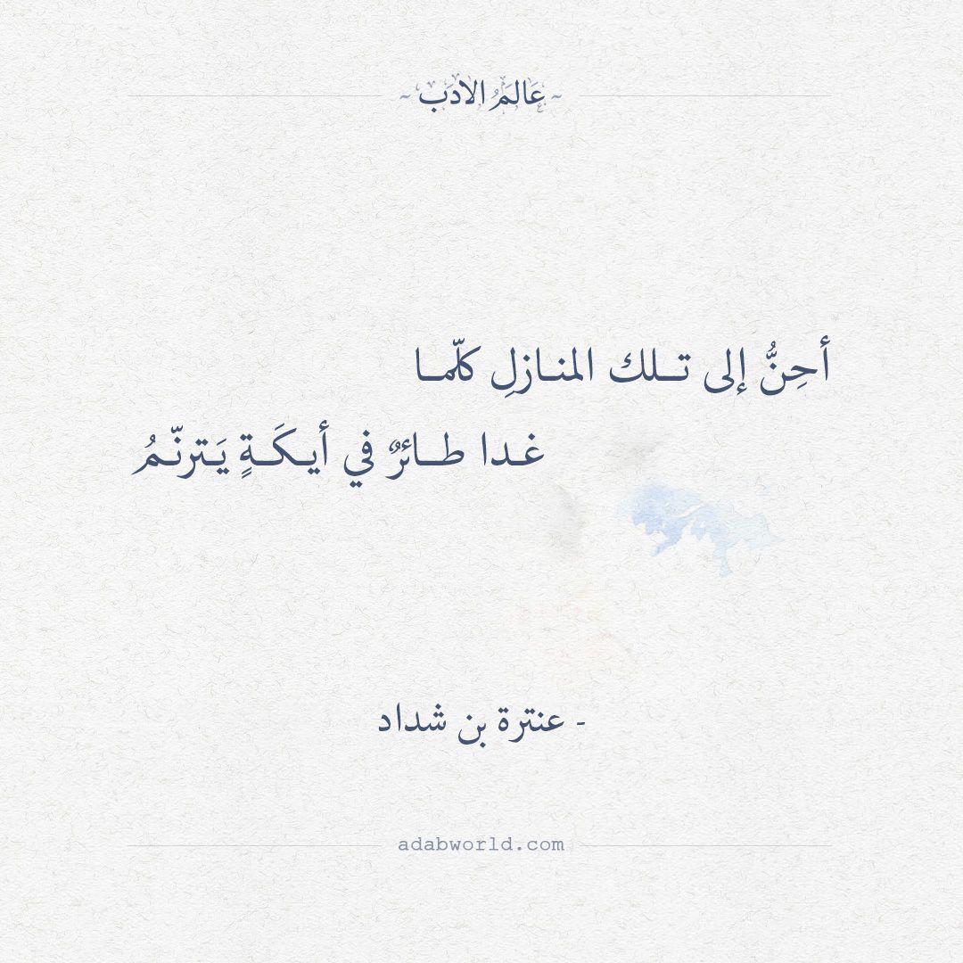 أح ن إلى تلك المنازل كل ما غدا طائر في أيك ة ي ترن م عنترة بن شداد اقتباسات الشوق شعر عنترة بن شدا Words Quotes Arabic Love Quotes Poetry Quotes