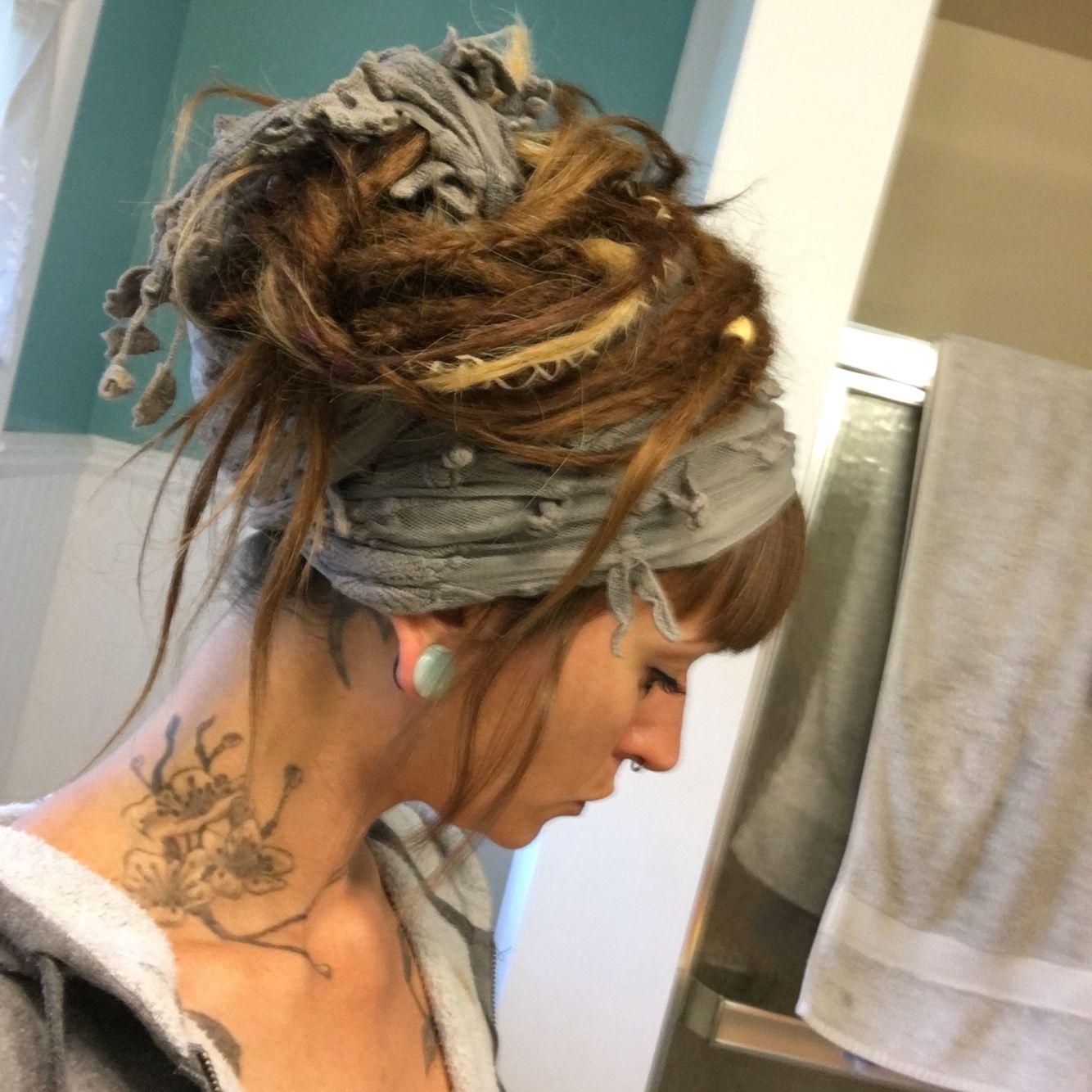 dreadlock bun with scarf