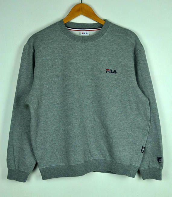 eb59ef1a553cf3 Vintage 90s Fila Crewneck Sweatshirt With Small Embroidered Fila Logo ||  Fila || Grey Colour