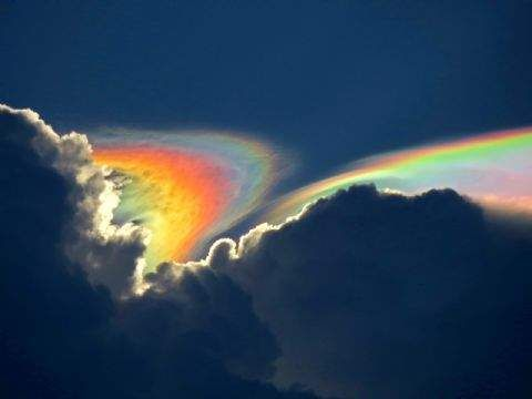 Fire Rainbow. Pileus clouds, created by a layer of ice crystals and thunderstorms. South of Florida