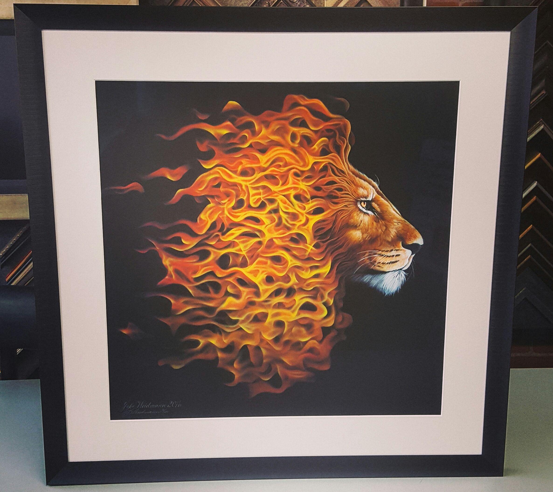 Limited Edition lion print custom framed with acid-free matting ...