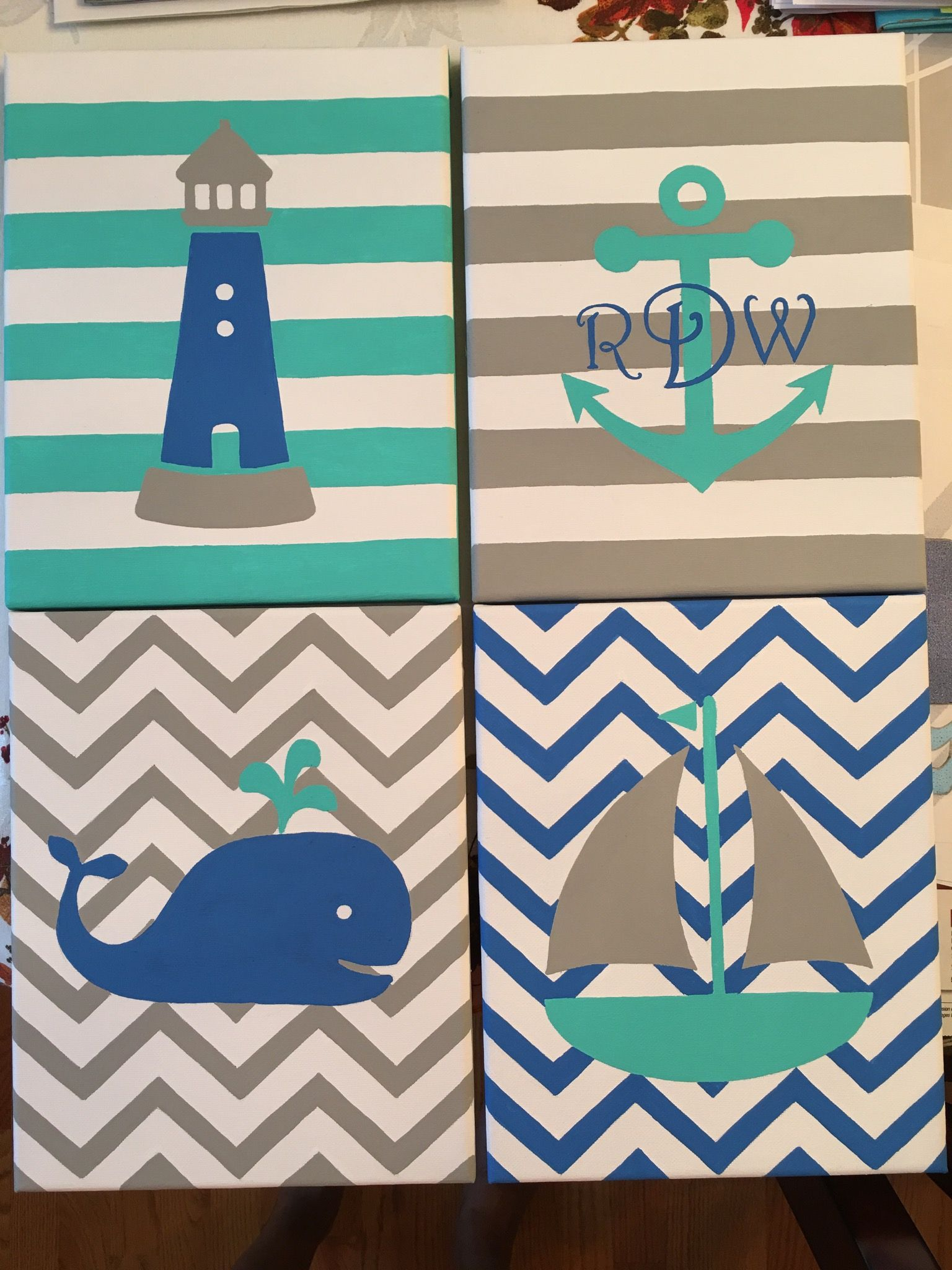 Baby boy nautical nursery. Acrylic on canvas. #babyboy  #nautical #whale #boat #anchor #lighthouse #nursery #chevron
