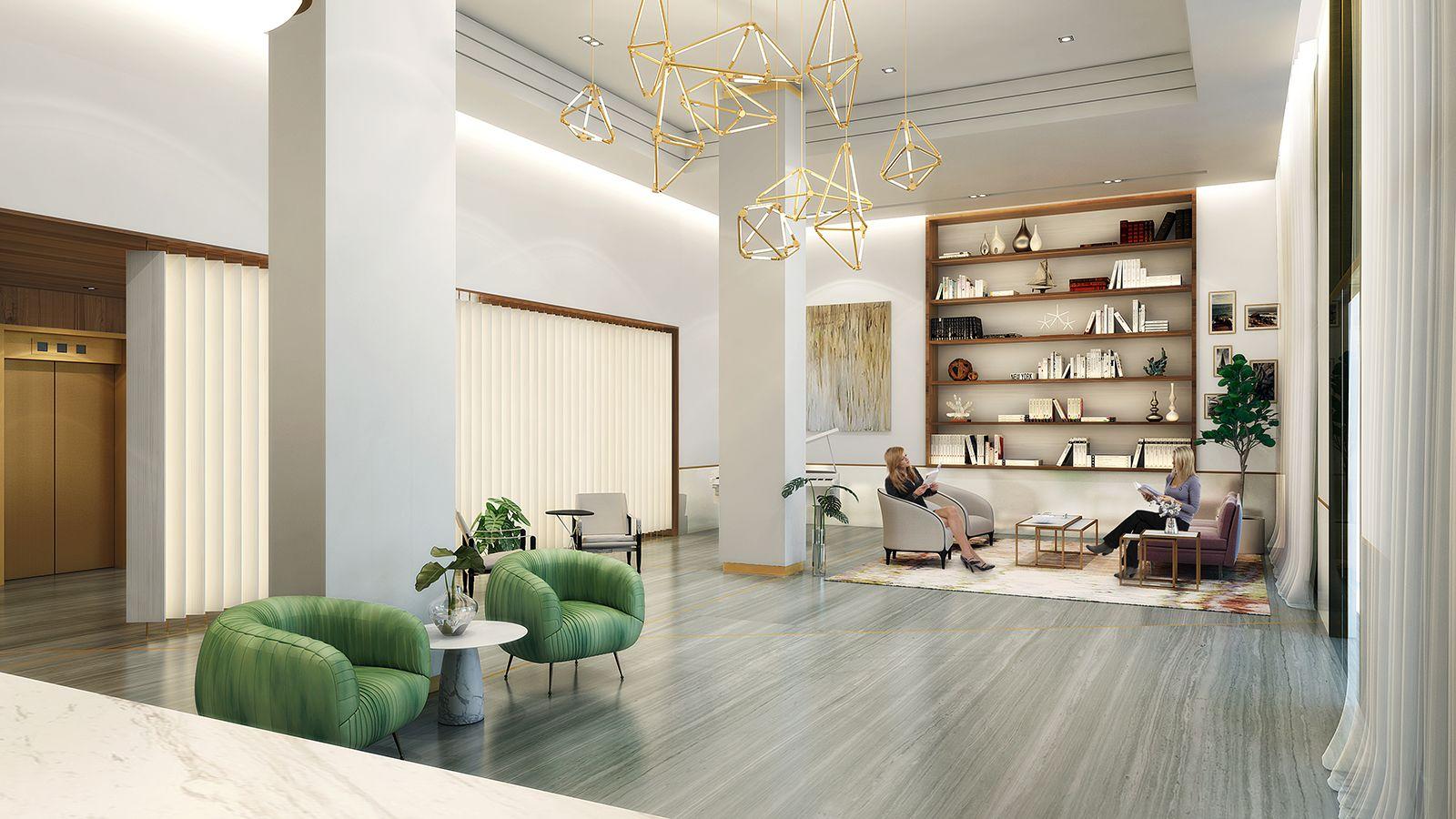 Modern lobby design for Marina Tower Condominium in Aventura, Miami ...