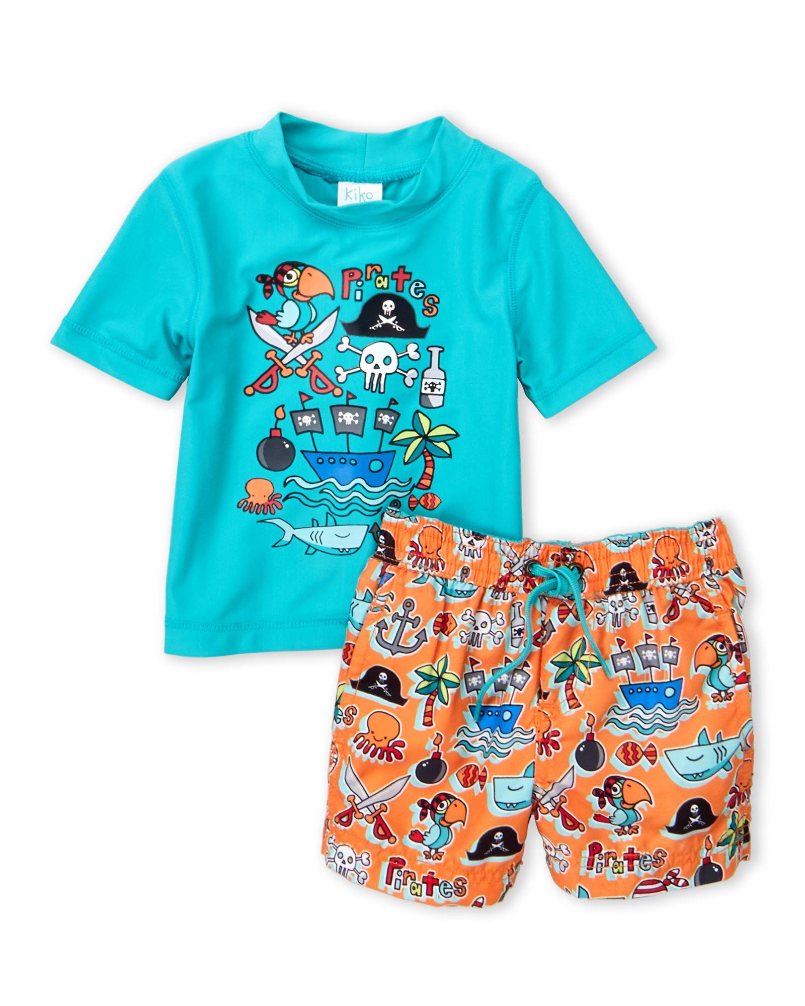 22e05138e4d7b Kiko & Max (Infant Boys) Two-Piece Pirate Print Rashguard & Shorts Set