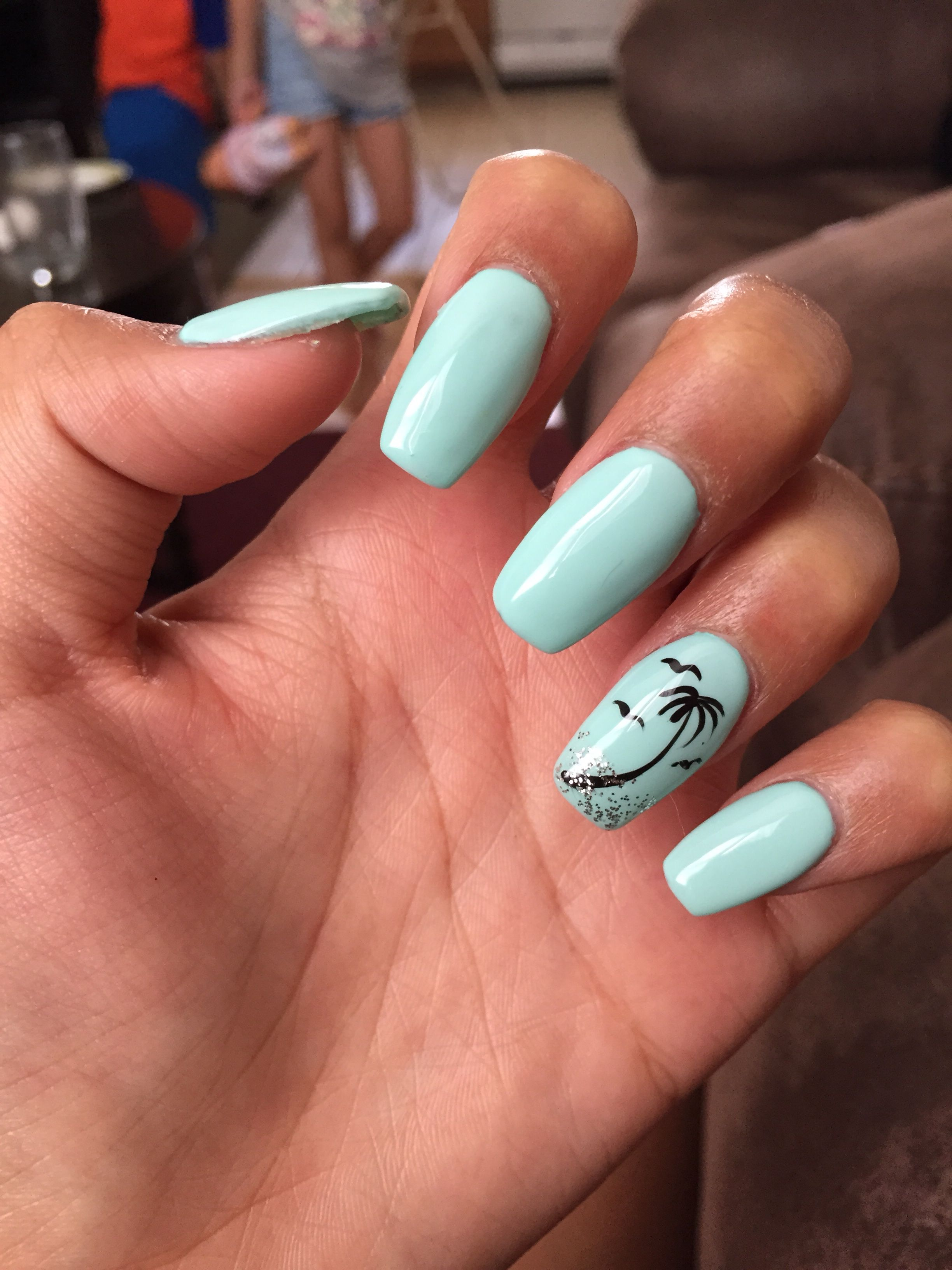 My Cute, Baby Blue, Coffin-shaped Nails With A Little