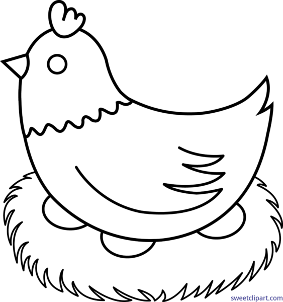 hen on nest clipart #154 | Line art, Chicken coloring pages ...