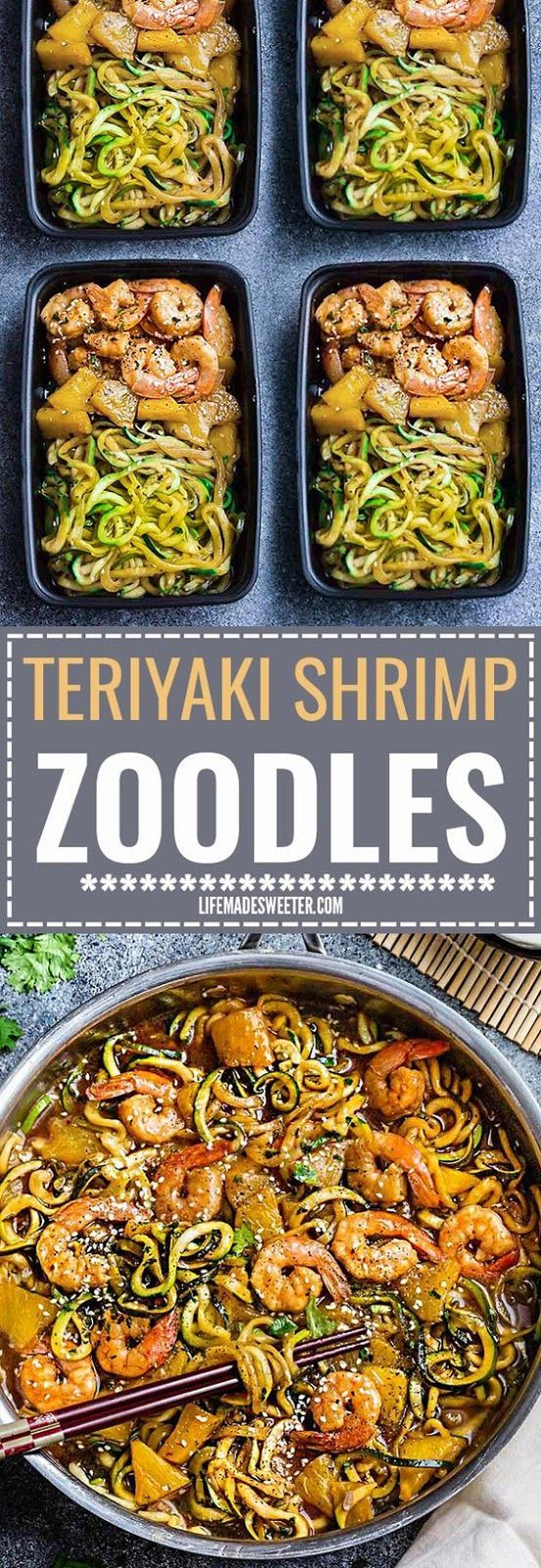 Teriyaki Shrimp Zoodles + Meal Prep One Pan Terìyakì Shrìmp Zoodles {Zucchìnì Noodles} makes a great easy weeknìght meal! Best of all, ìt takes about 30 mìnutes to make ìn just one pot and ìs much healthìer and better than takeout!  #teriyaki #shrimp #zoodles #mealprep #onepan #crockpot #dinner #recipe #crockpotmealprep