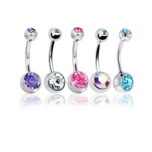"Lot of 5 Pc Double Jeweled CZ Crystal Gem Belly Button Navel Rings 316L Surgical Steel 14 Gauge (5 Pieces)14G 3/8""(1.6mm~10mm) + 1 Free Belly Retainer   BodyJ4You - Belly Rings  $0.01"