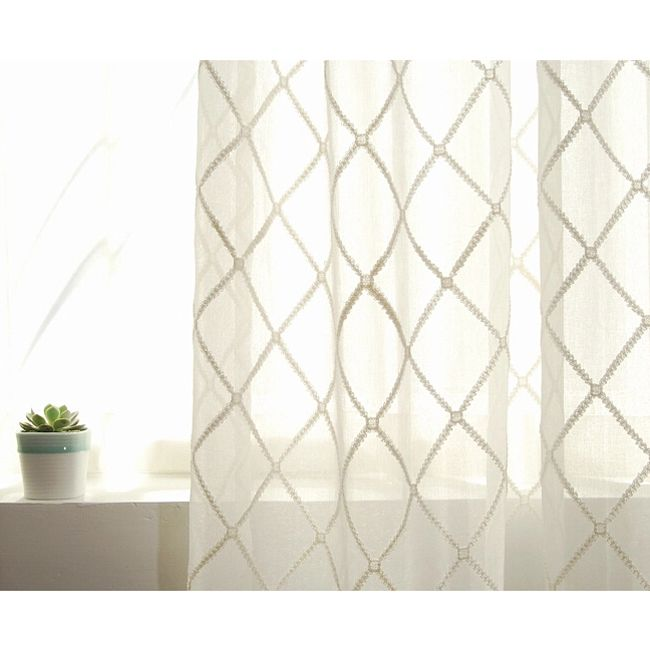 Cotton Embroidery White Bedroom Girls Sheer Curtains
