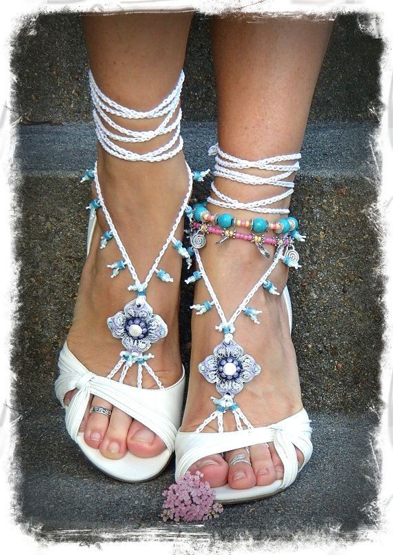 Reserved for Alex Do not buy BAREFOOT Sandals Toe Anklet WHITE