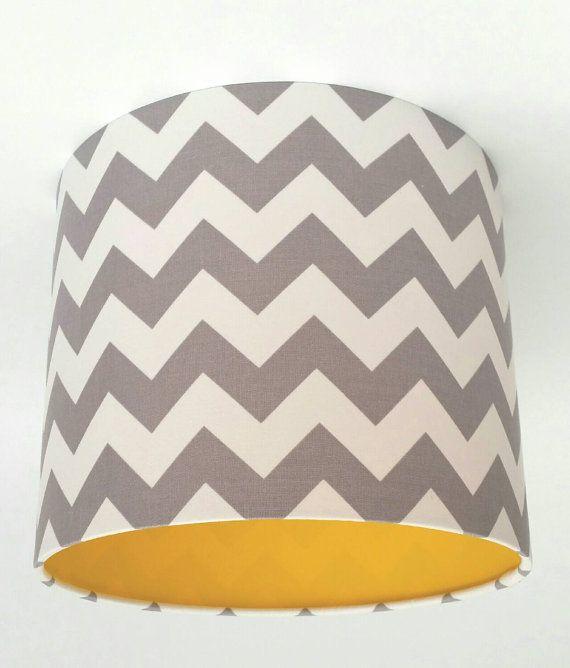 Grey Chevron Fabric & Yellow Vinyl Lampshade by MakeHayDesign ...
