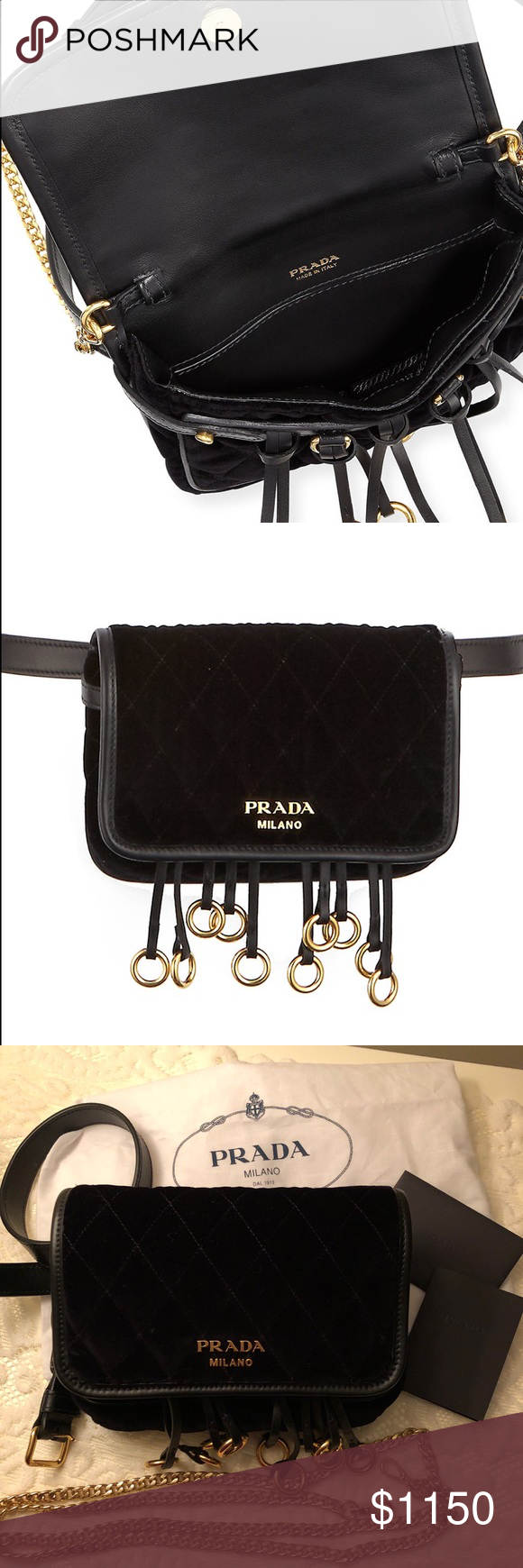 c4846686f9a7 Prada quilted velvet belt bag and crossbody Bag Prada quilted velvet belt  bag and or Crossbody Chain with calf leather trim. Adjustable waist belt.