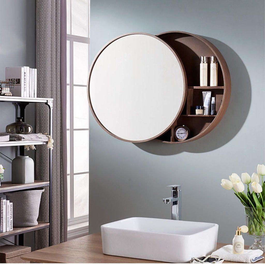 Bathroom Mirror Round Wall Mirror For Cabinet Pushpull Lockers Walnut Wood 5050cm Want To Know Mo Mirror Cabinets Wood Mirror Bathroom Round Mirror Bathroom [ 1020 x 1024 Pixel ]