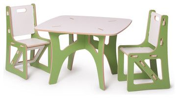 Kids Table and 2 Chairs, Green and White by SPROUT - contemporary - kids chairs - Sprout