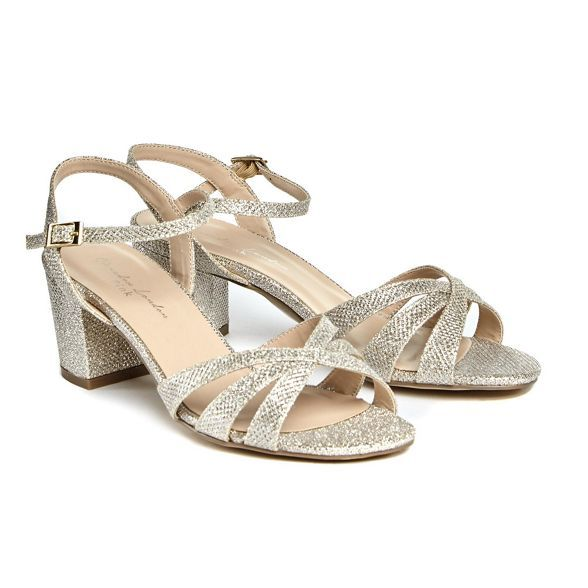 d984eeebb39 Pink by Paradox London Gold glitter  Colette  mid heel wide fit ankle strap  sandals