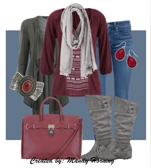 feat. Premier Designs jewelry #pdstyle jeans, grey cardigan and boots, burgundy bag and ls tee