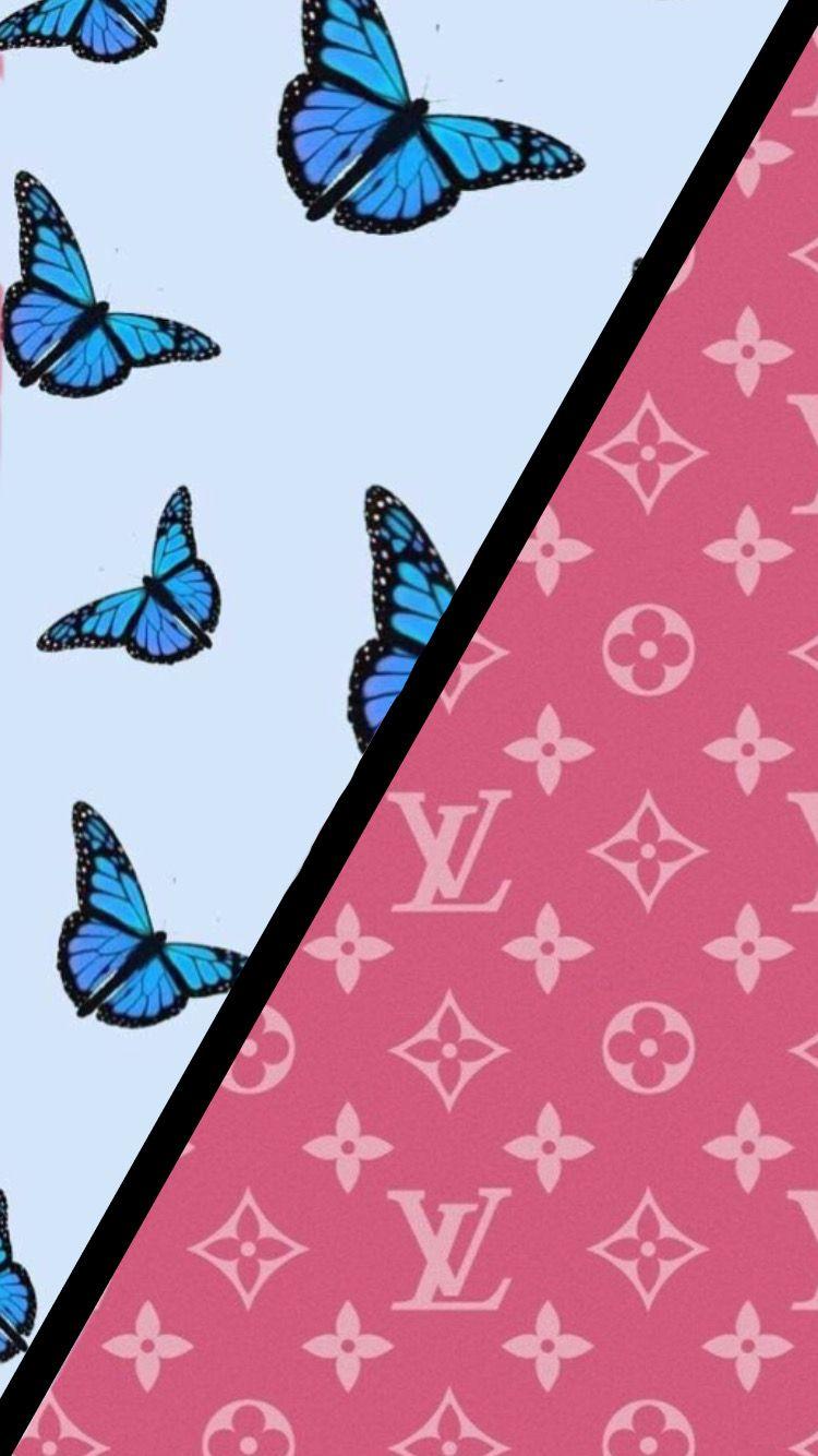 Butterfly Louis Vuitton Wallpaper Iphone Blue Pink Aesthetic Butterfly Wallpaper Iphone Wallpaper Wallpaper