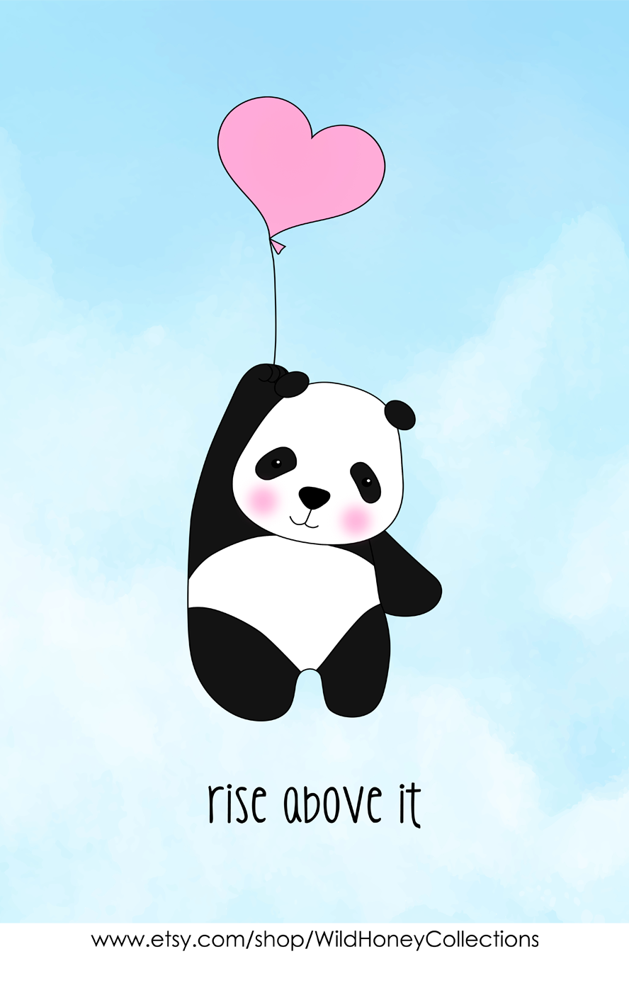 Rise Above It Cute Panda With Pink Heart Balloon Etsy In 2021 Cute Cartoon Drawings Android Wallpaper Art Wall Printables