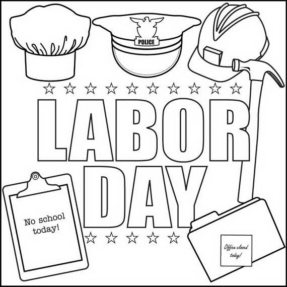 Print out and color these Labor Day Coloring Pages Celebrated the