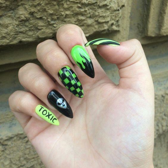 Acrylic Nail Designs Punk Nails Edgy Nails Grunge Nails