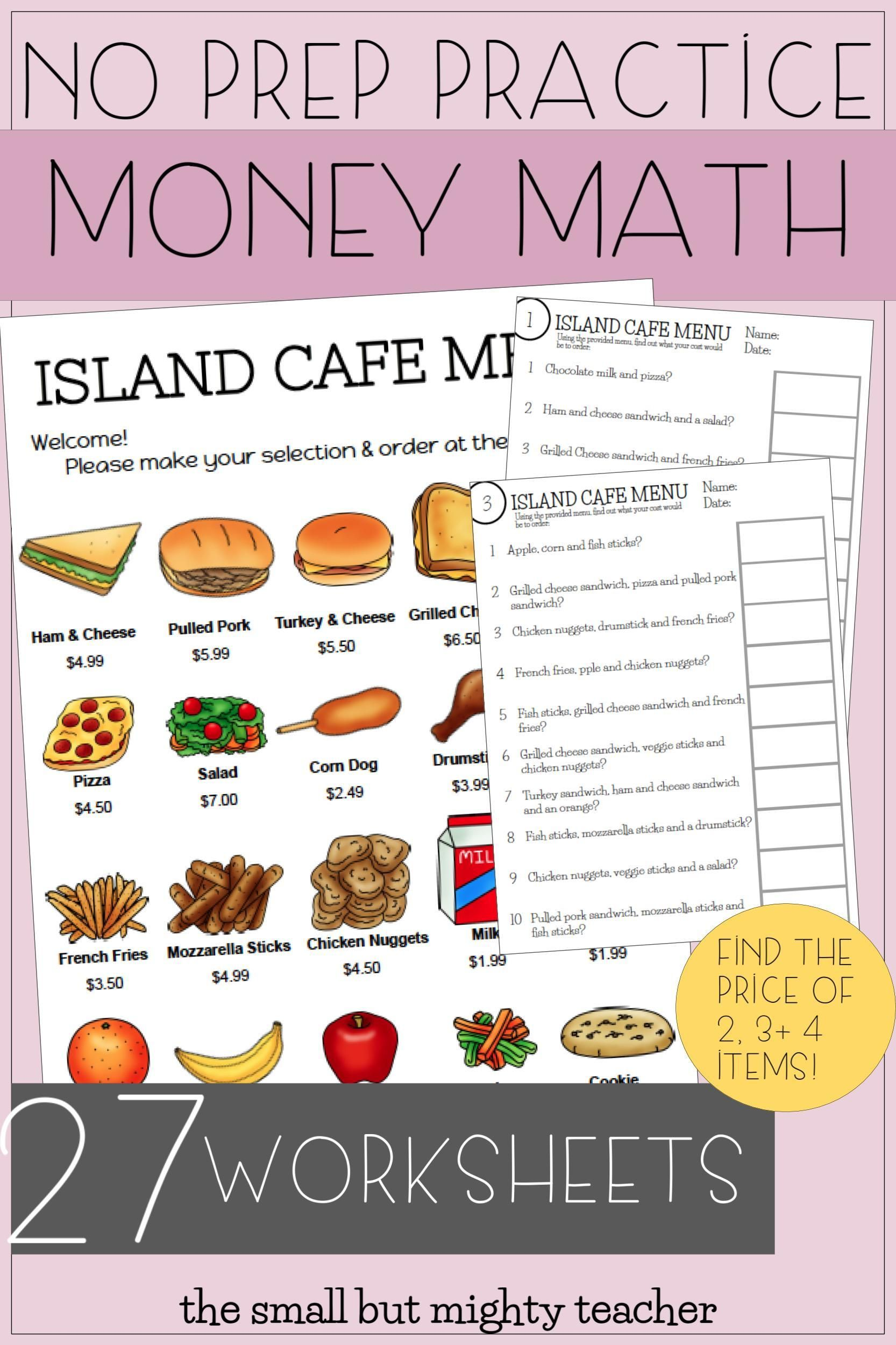 Menu Math Worksheets Bulletin Board Set Up In 2020 Math Worksheets Kids Math Worksheets Money Math Activities